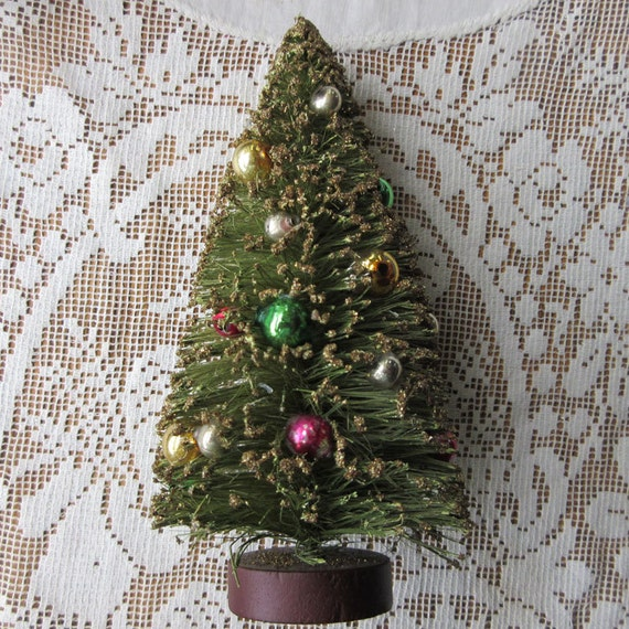 Bottle Brush Tree 6 Inch Green Christmas Tree Vintage Mercury Glass Beads