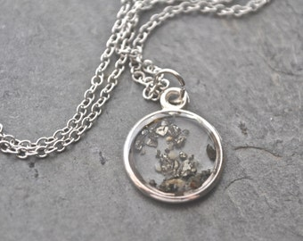 Resin Pendant Necklace Pyrite Dust