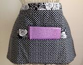 Vendor Waist Apron Craft Art Teacher iPad Black White Hearts Flowers Fabric (4 Pockets)
