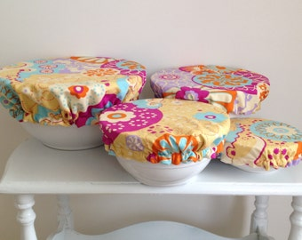 Reusable Food Bowl Container Elastic Picnic Cover Yellow Bright Color Circles Colorful Cotton Fabric (4 Piece)