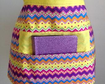 Vendor Half Waist Apron Craft Art Teacher iPad Yellow Colorful Zig Zag Fabric (4 Pockets)