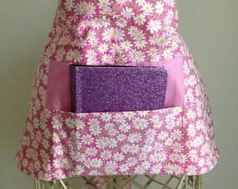 Half Waist Apron Teacher Vendor Art Craft  iPad Pink Spring Daisy Fabric (4 Pockets)
