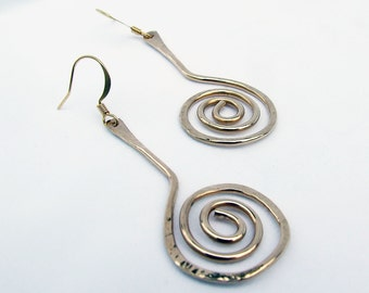Modern gold earrings, textured wire dangles
