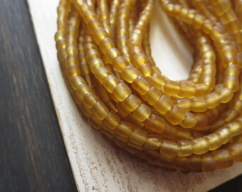 small matte seed bead, yellow amber glass bead, Irregular spacer bead, barrel tube, New Indo-pacific  3 to 6mm / 22 in strand,5Bb31-3