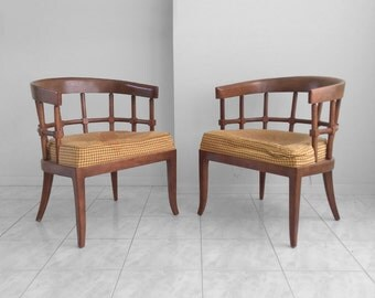 30% SALE 2 DREXEL mid century modern lattice back arm chairs