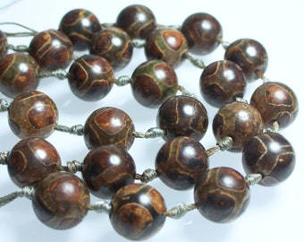 9pc 14mm Smooth Tibetan style Agate Round Bead Strand Brown Light Gold Moss Green Jewelry Jewellery Craft Supplies