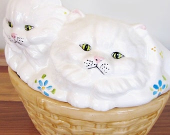 Huge Pottery Box, Handmade Cats in Basket