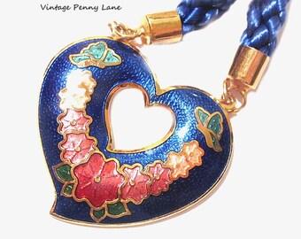 Vintage Cloisonne Necklace / Blue Cord, Enamel Flower Pendant