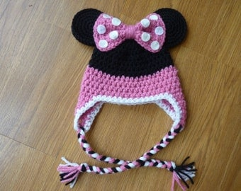 Custom Crochet Little Miss Mouse Earflap Beanie Hat