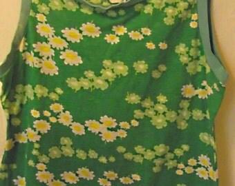 70s Vintage Catalina Sportwear DAISY Tank Top, Green, Flowers, Hippie, Boho,Ringer, Bohemian Chick