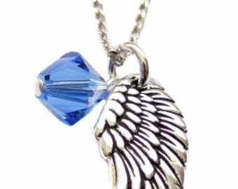 "Archangel Michael Pewter Angel Wing Charm Swarovski Crystal, Sterling Silver Necklace 18"", Angel Wing Prayer Jewelry Gift"