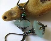 Pale Aqua Danglers - Lampwork Earrings
