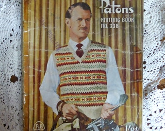 Patons No. 338 - Vintage Kniting Pattern inc. Classic Fair-Isles - for men - ACTUAL PATTERN BOOKLET