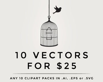 Vector clipart - .eps or .ai digital clip art pack any ten 10 clipart sets packs in vector format digital designs vectorized discount save