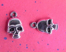 10 Silver Skull Willie G Motorcycle Pendant Charms