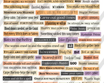 Halloween Collage sheet Phrases and Words Digital Sheet Sheet