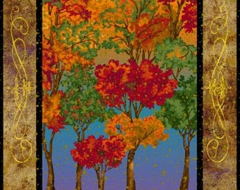 Changing Seasons Trees Metallic Fabriquilt Fabric Panel