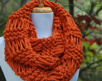 Pumpkin Orange Knit Infinity Scarf, Chunky Scarf, Circle Scarf, Hand Knit Infinity Scarf, Women's Scarf, Knitted Scarf, Winter Scarf, Wool