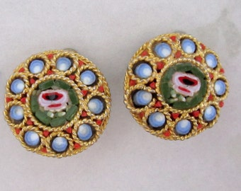 vintage micro mosaic gold tone flower clip on earrings - j5831