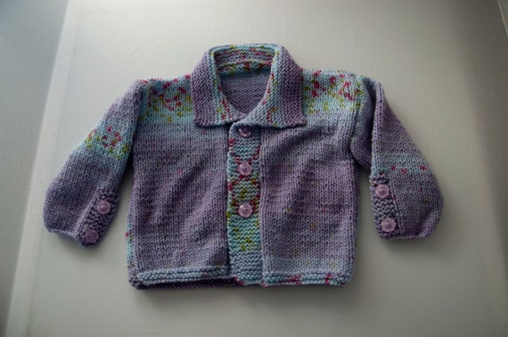 Handknitted Lilac and Blue Cardigan to fit 18 month old.