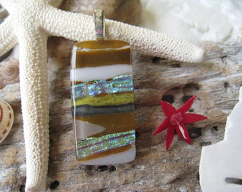 """CHUNKY Glass Pendant with FREE matching cord  """"Earth tones""""  024"""