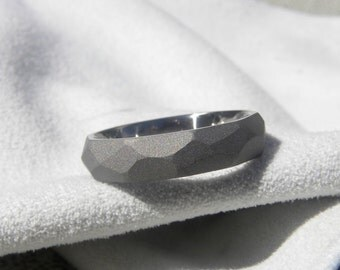 Titanium Ring with Ground Profile Wedding Band Sandblasted Finish