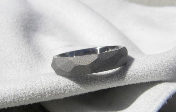 Titanium Ring with Ground Profile Wedding Band Sandblasted Finish
