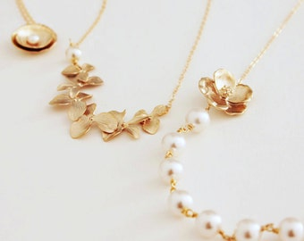 Set of Three Complimentary Bridesmaid Pearl Necklaces with Gold Flowers