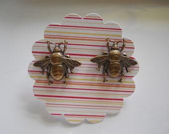 Little Bee Brass Post Earrings Small Bee Jewelry Gardeners Gift