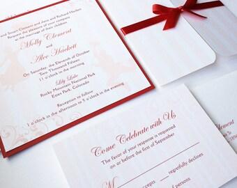Mary Poppins Wedding Invitation, Disney wedding invitations, Unique, Red, Striped, Romantic, Elegant invitation, bat mitzvah invite - Sample