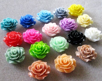 Resin Ruffled Rose Flower Cabochons No Hole Choose your Colors 18mm Beads 930