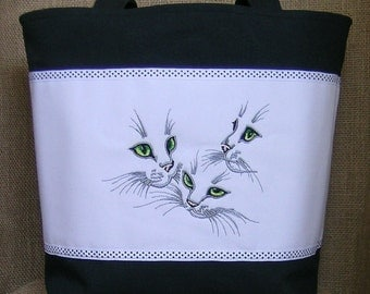 Tote Bag, Embroidered Tote Bag, Embroidered Cats Tote Bag, Cats