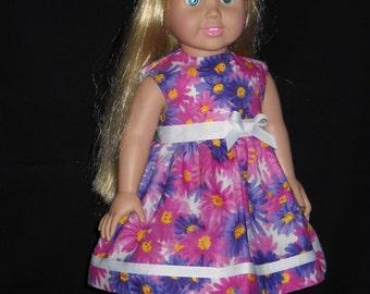 18 inch Doll Dress Handmade Pink and Purple Flowers Dress