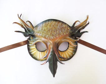Leather Mask of a Horned Owl  detailed hand painting original and unique