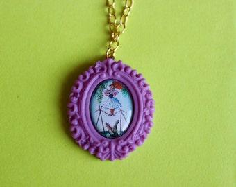 Small Lavender Daisy De La Cruz Haunted Mansion Cameo Necklace