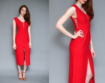Vintage 90s Red Strappy Jessica Rabbit Cage Cut Out Midi Dress - Size S