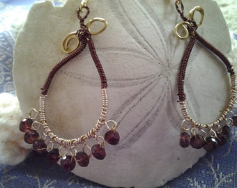 Moroccan style hoop-Lacy  earring - wire hoops-  wire knit earring -wire wrapped chandelier  in gold and garnet
