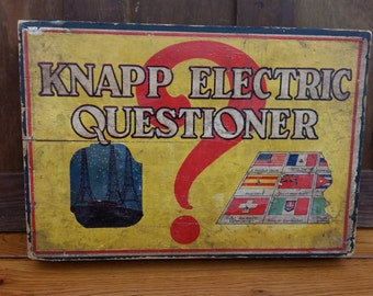 Vintage Knapp Electric Questioner Game with 13 Insert Quiz Cards