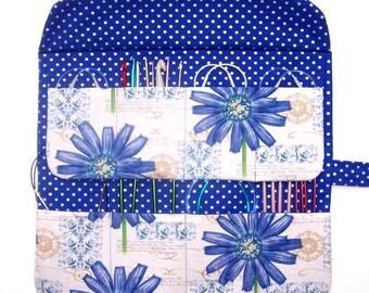 Blue Circular Knitting Needle Case, Floral Double Pointed Needle DPN Holder, Silver Polka Dot Crochet Hook Storage Organizer, Artist Brushes