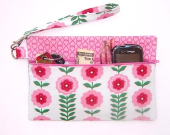 Pink White Floral Wristlet, Green Leaves Clutch, Small Zippered Purse, Womens Wallet, Pink Flowers Makeup Bag, Zip Front Camera or Phone Bag