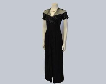 1940s dress / Draped Dame Vintage 40's Black Crepe Gown Dress
