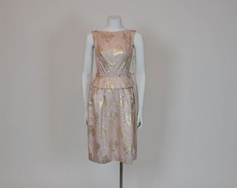 1960s dress / Pearlized Pink Vintage 60's Peplum Brocade Dress