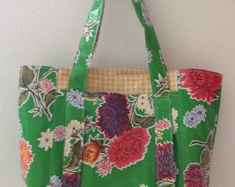 Beth's Green Mum Multi Market Oilcloth Tote Bag
