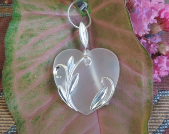 Vintage Sterling Silver Frosty Quartz Heart  Pendant with chain