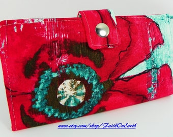 Handmade vegan Long Wallet  BiFold Clutch - Vegan Wallet - Giant distressed red poppy in teal
