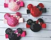 Sequin Minnie Mouse No Slip Hair Clip - Disney - Red, Pink, or Black