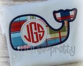 Monogram Whale Boy Embroidery Applique Design