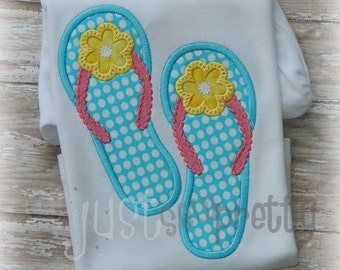 Flip Flops Embroidery Applique Design