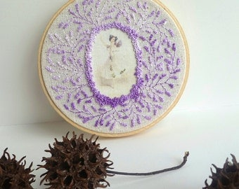 Free style hand embroidery hoop art, BALLERINA, home decor, french knot stitch, wall art, romantic, lavender color, collectible, fiber art