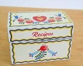 Vintage Recipe File Box • Ohio Art Metal Box • 1960s Vintage • Dutch Tole Hearts